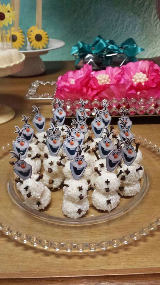 Olaf treats at a Frozen Fever birthday party! See more party planning ideas at CatchMyParty.com!