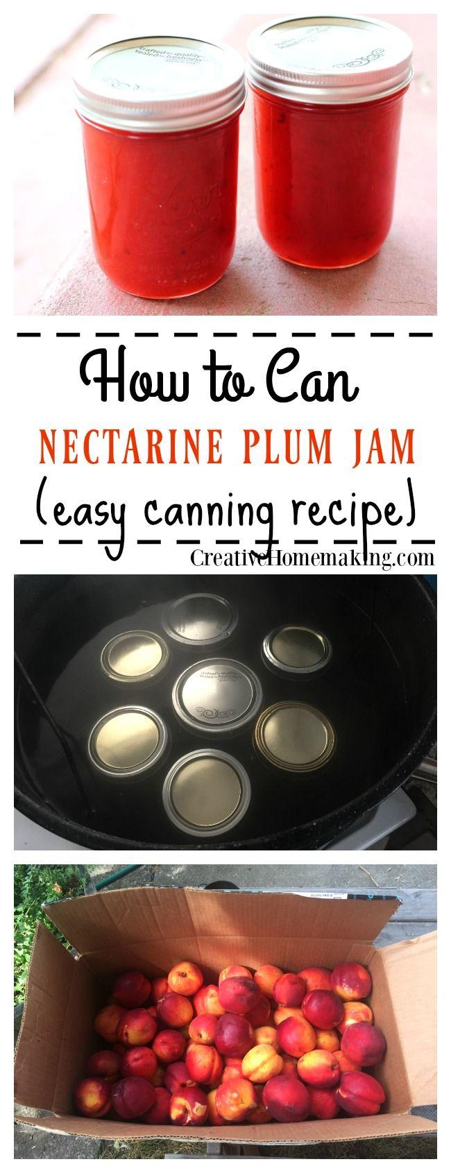 Easy recipe for canning homemade nectarine plum jam. Learn how to make jam like a pro!