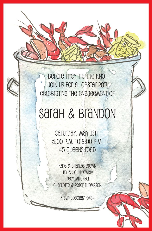 Invitingpany Crawfish Pot Engagement Party Invitation #wedding  #engagement #party #invitation #