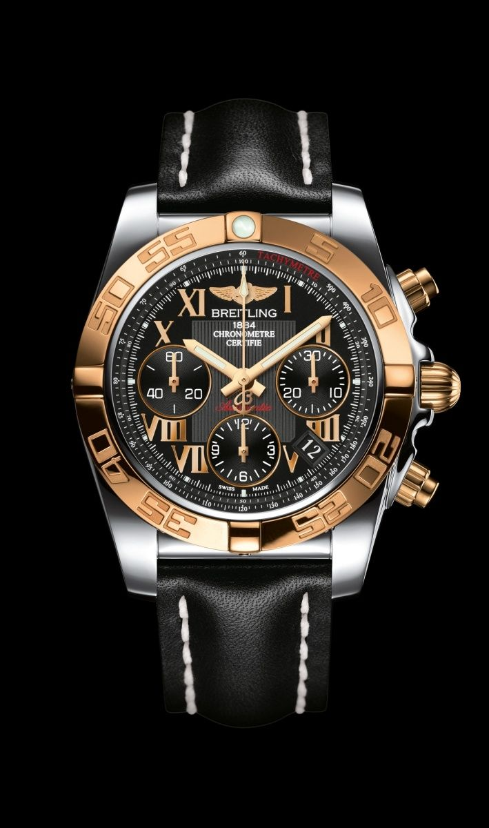 Chronomat 41 watch by Breitling - Steel and 18K rose gold case with onyx black dial and black leather strap.