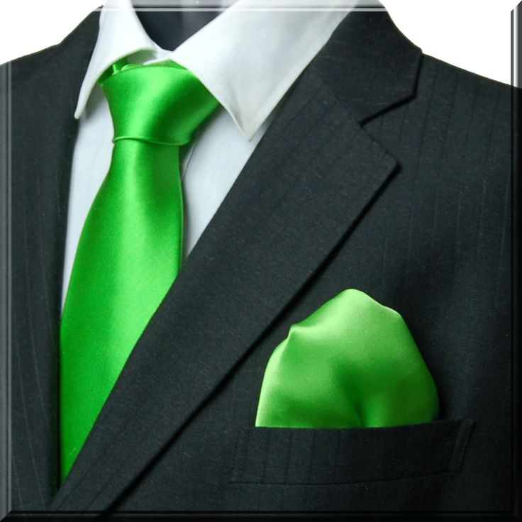 green tie | Plain Solid Neon Green Tie with Matching ...