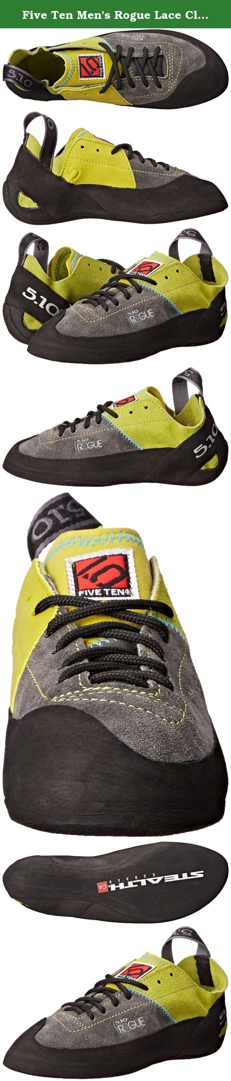 Five Ten Men's Rogue Lace Climbing Shoe,Green/Charcoal,11 M US. Five Ten, the Brand of the Brave, is a leader in performance, high-friction footwear. From downhill mountain bike racing to rock climbing, from wing suit flying to kayaking, Five Ten makes footwear for the world's most dangerous sports. The Redlands, California-based company has been producing cutting-edge designs and proprietary Stealth rubber soles for nearly 30 years. With the help of top national and international…