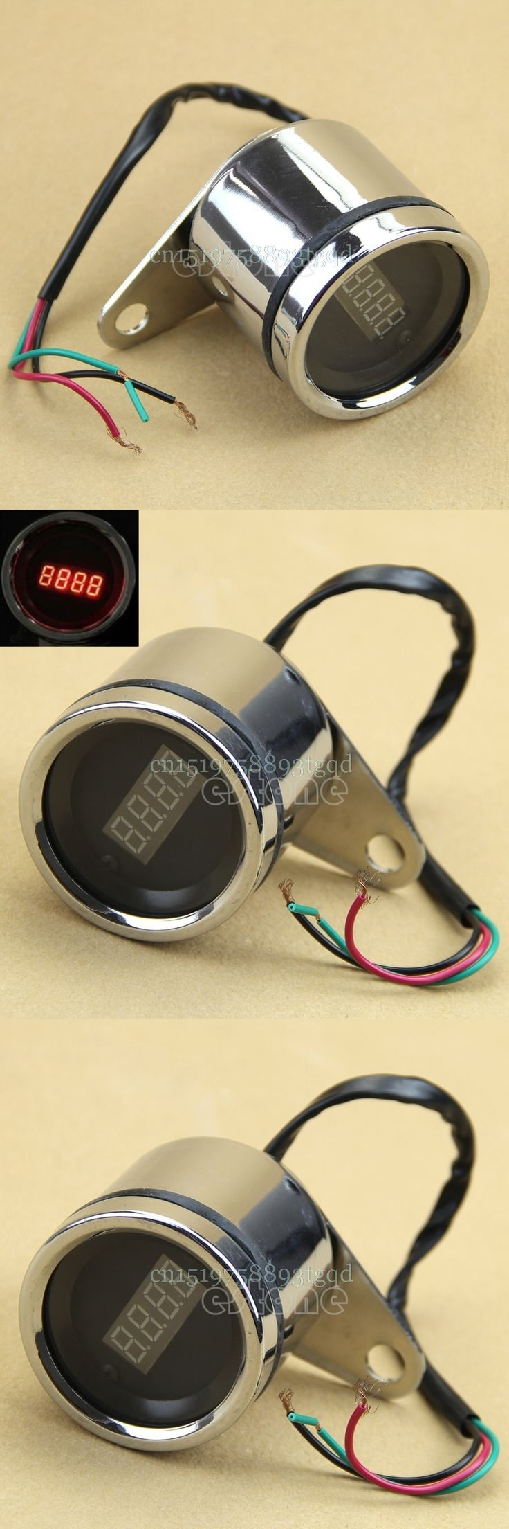 Waterproof Motorcycle Red LED Light Digital Tachometer Tacho Speedometer Gauge#T518#