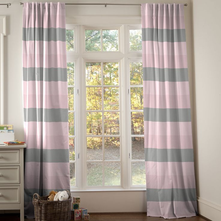 Pink and Gray Wide Stripe Fabric by Carousel Designs.