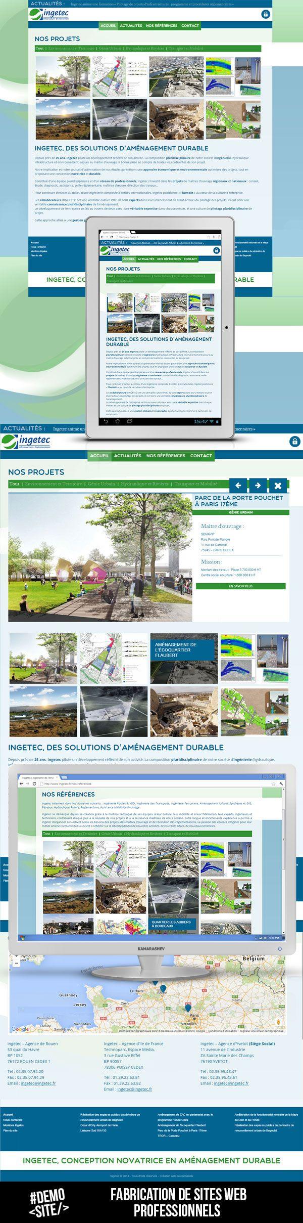 #webdesign #responsive du site web Ingetec.fr, société d'ingénierie de l'environnement.