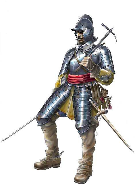 """Spain / Battles, Knights - A tercio (""""third""""), was a Spanish infantry organization during the time that Habsburg Spain dominated Europe in the Early Modern era. Although other powers adopted the tercio formation, their armies fell short of the fearsome reputation of the Spanish, who possessed a core of professional soldiers, which gave them an edge that was hard for other states to match.Coracero español Guerra trenta Anni"""