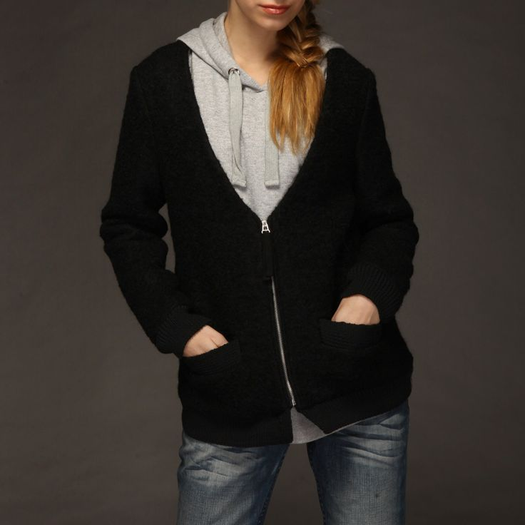 Short noir manteau de laine cachemire Chevrolet