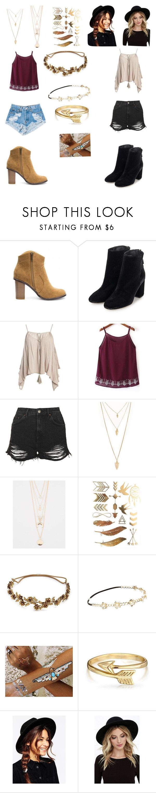"""Coachella"" by gabriellemv ❤ liked on Polyvore featuring Topshop, Sans Souci, Levi's, Forever 21, Full Tilt, Jennifer Behr, Chicnova Fashion, Flash Tattoos, Bling Jewelry and ASOS"