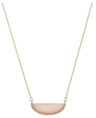 Women's Necklace Short Pendant with Half Moon Stone and Pave Crystal - Pink #pendant