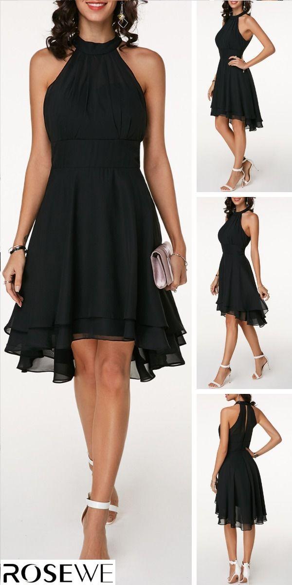Schwarzes, geschichtetes, ärmelloses Chiffon-Kleid mit Ausschnitt  #armelloses …
