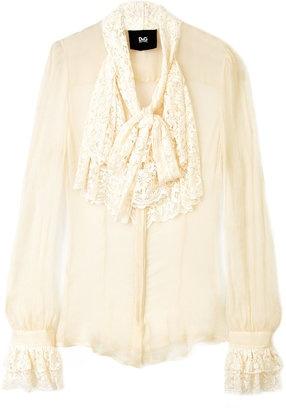 ShopStyle: D Cream Lace Pussy Bow Blouse