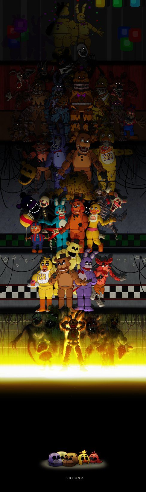 Five Nights at Freddys by DoodleDox on DeviantArt<<<so happy that they included the new Halloween animatronics