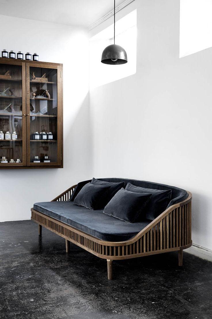 Ikea Viktigt dark grey velvet & wood sofa | @styleminimalism