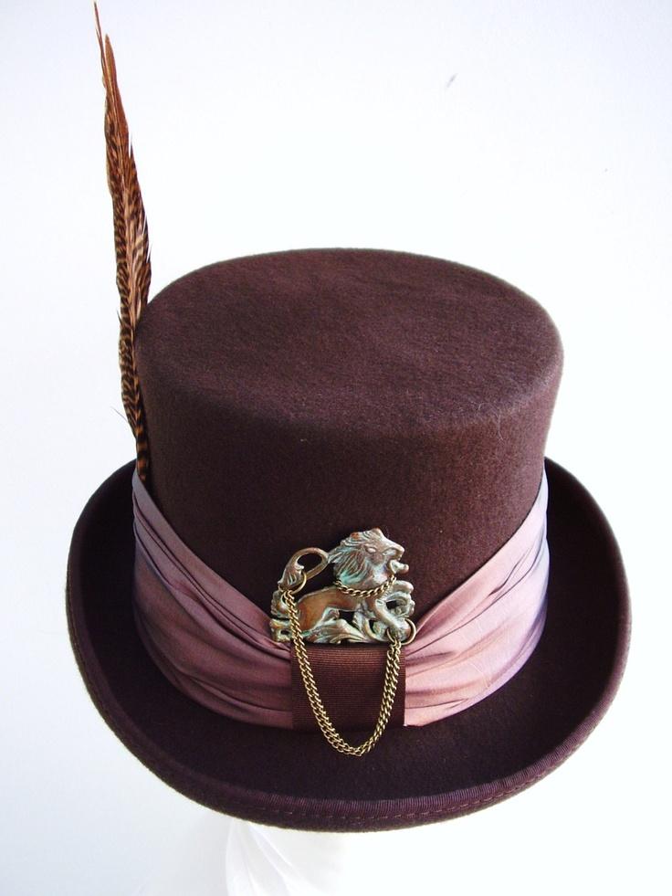 Victorian steampunk Brown & Bronze top hat Victorian