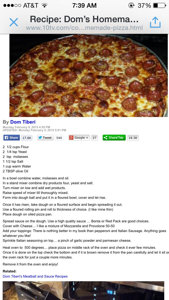 Dom Tiberi S Homemade Pizza Recipe Dinners Pinterest