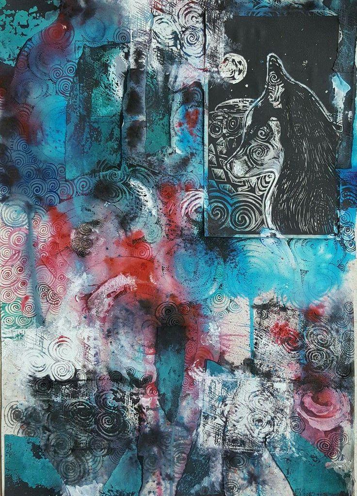 Danu, lino print & mixed media. Irish artist Claire Loughran. Newgrange Co. Meath, Ireland. Irish mythology, husky, Celtic goddess.