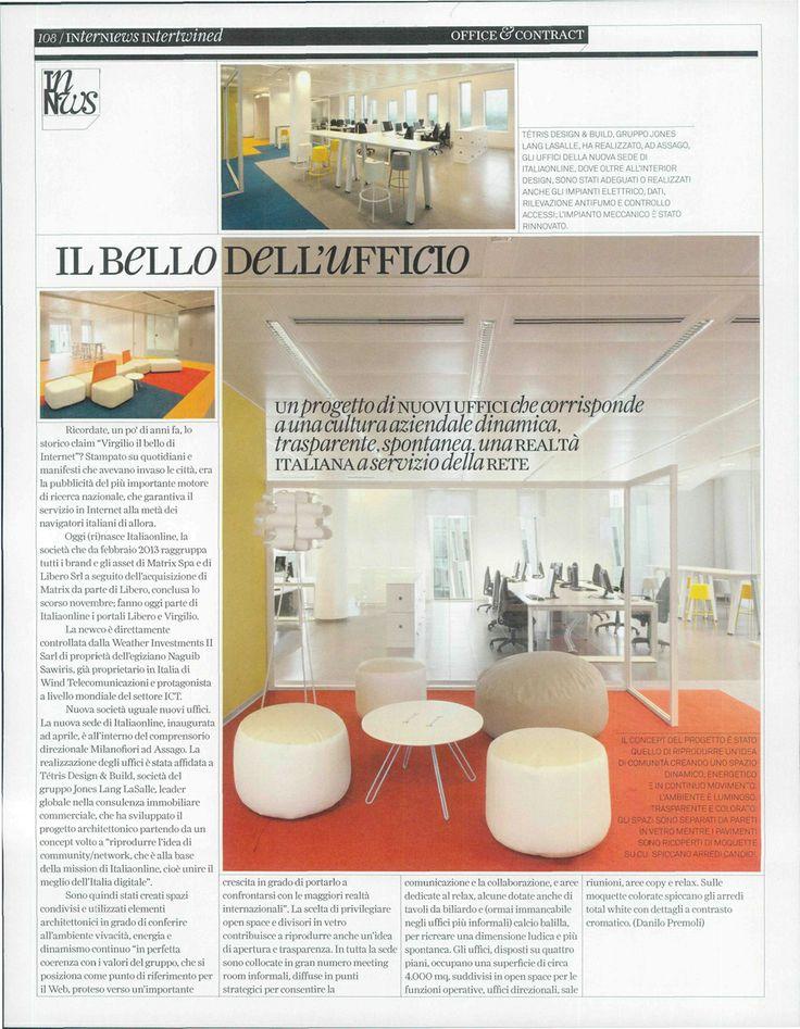 Gli interni di Italiaonline sono stati pensati per ricreare lo spirito dell'azienda, che è quello del futuro e della velocità.