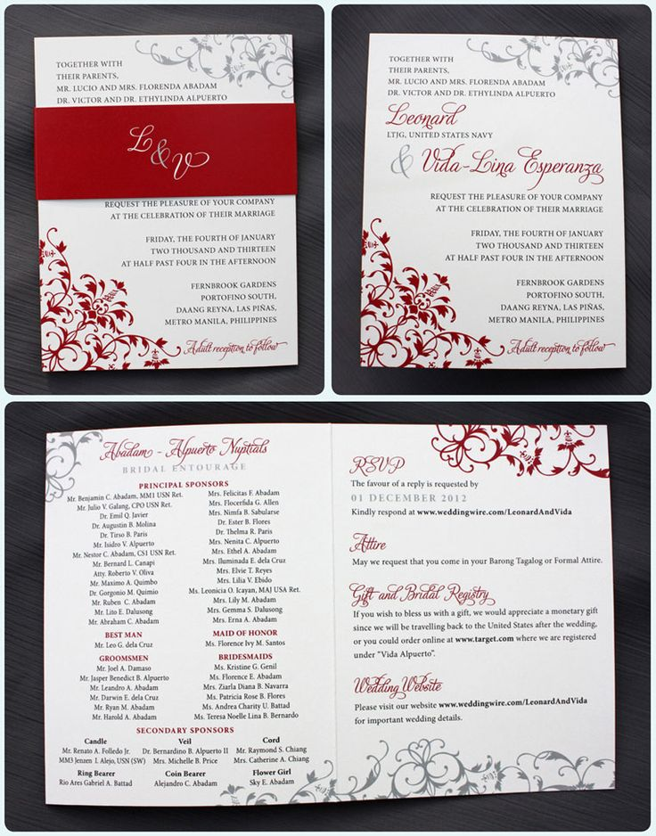 Combining elegant scrollwork and a modern feel, these trifold wedding invitations feature red and gray vintage swirls and scrolls across three panels. The first panel is the front of the invitation when folded, and acts as the formal wedding invitation. The center panel lists all of the couple's sponsors in their entourage, as is traditional ...read more