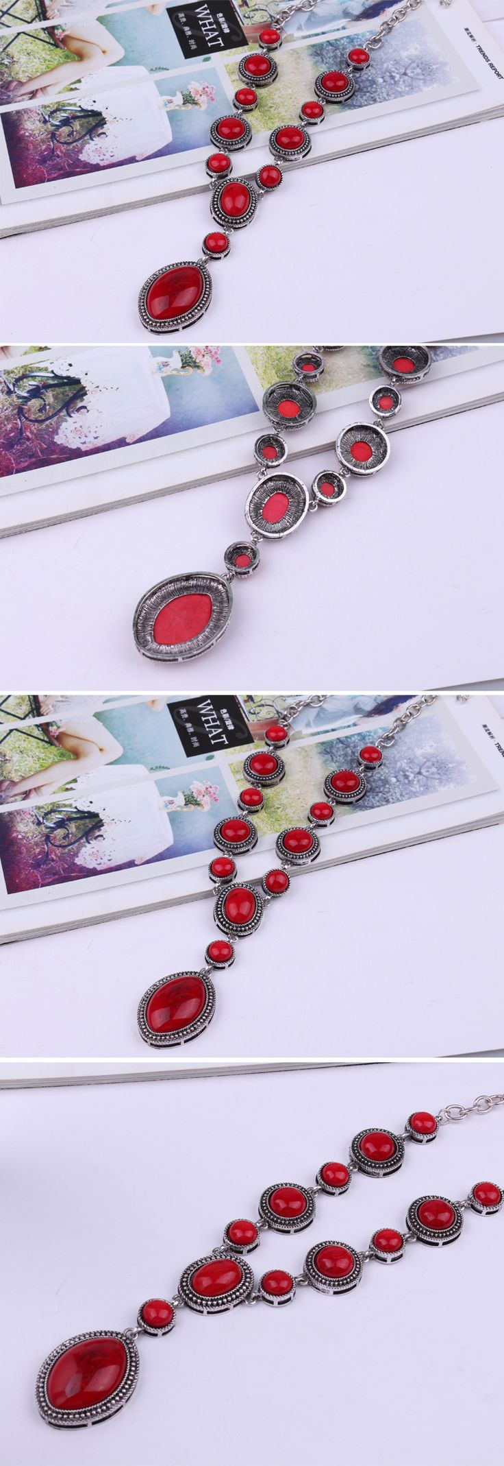 Occident and the United States alloy plating necklace (Photo Color)NHKQ0972-Photo Color