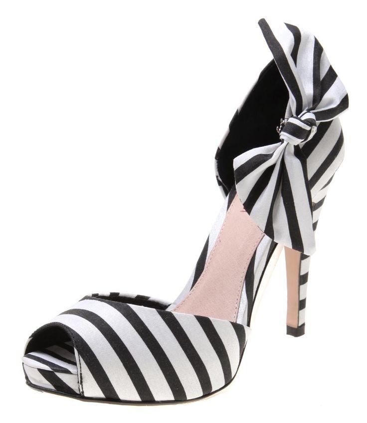 black and white striped high heel shoes   Rmk jilly black/white stripe synthetic fabric high heel platform peept ...