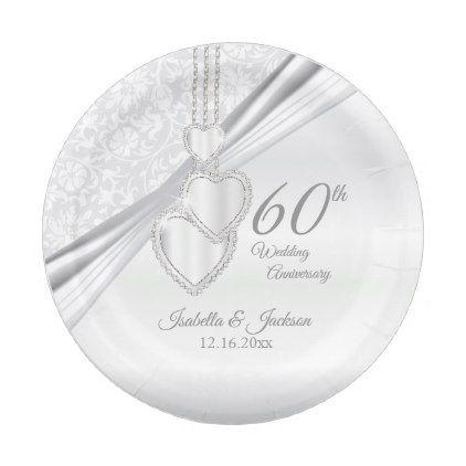 60th Diamond Wedding Anniversary Paper Plate - married gifts wedding anniversary marriage party diy cyo