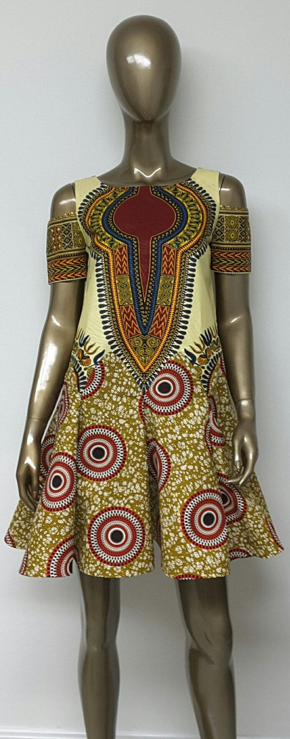 African Print Swing and Shift Mini Dress. Cold Shoulders.