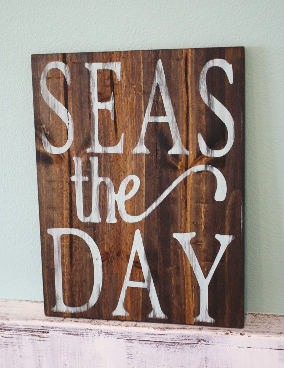 Seas the Day Handmade Wooden Beach Sign  This handmade wooden sign gives the perfect touch for decorating any beach house. Not only does this