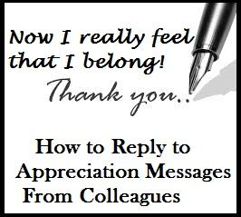 Appreciation Messages : Reply to Appreciation Messages