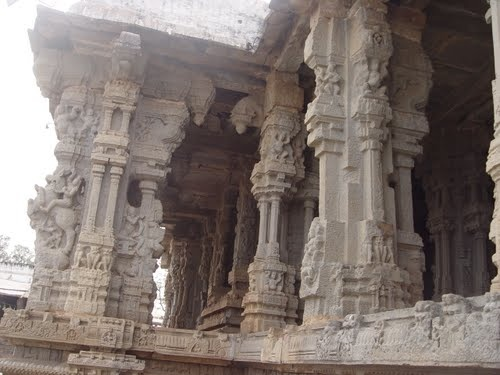 The interiors of the Kodanda Rama Swamy temple at  Vontimitta, with some exquisite carvings.