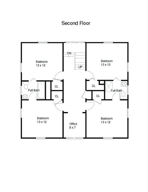 american four square house plans attached them together to make a one story - Square House Plans
