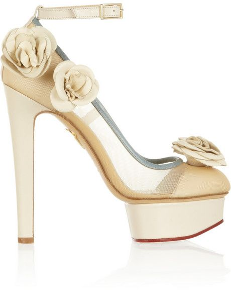 Charlotte Olympia Flora Leather And Mesh Pumps - Ivory - ShopStyle Shoes