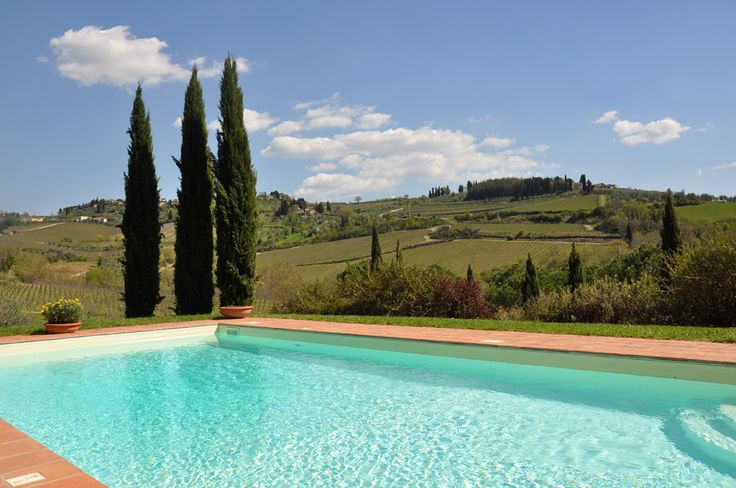 Our pool! It's beautiful to swim among hills and cypresses! #pool #chianti #tuscany #placetosee