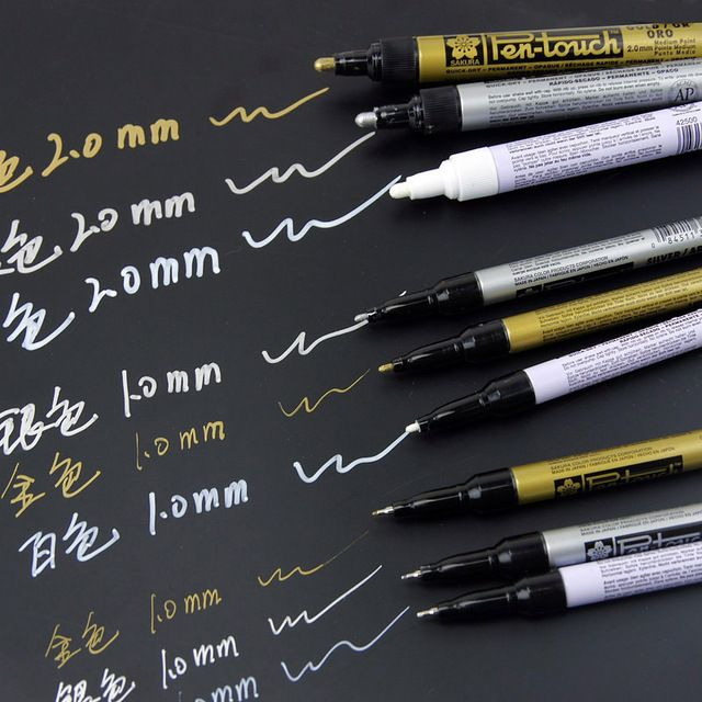 Sakura Pen-Touch Paint Marker 3 pcs/lot Gold/Silver/White 0.7mm/1mm/2mm Mark On Any Thing Glass/Cloth/Metal