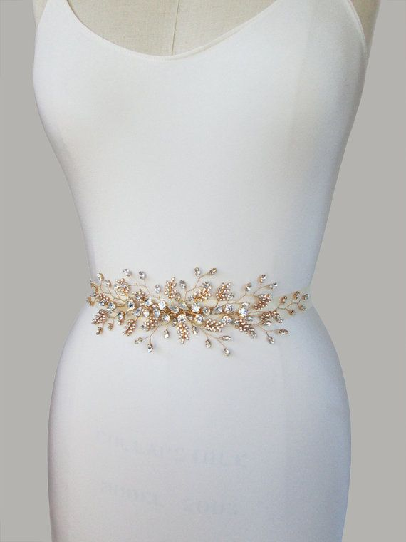 Bridal crystal belt sash Bridal belt with by SabinaKWdesign
