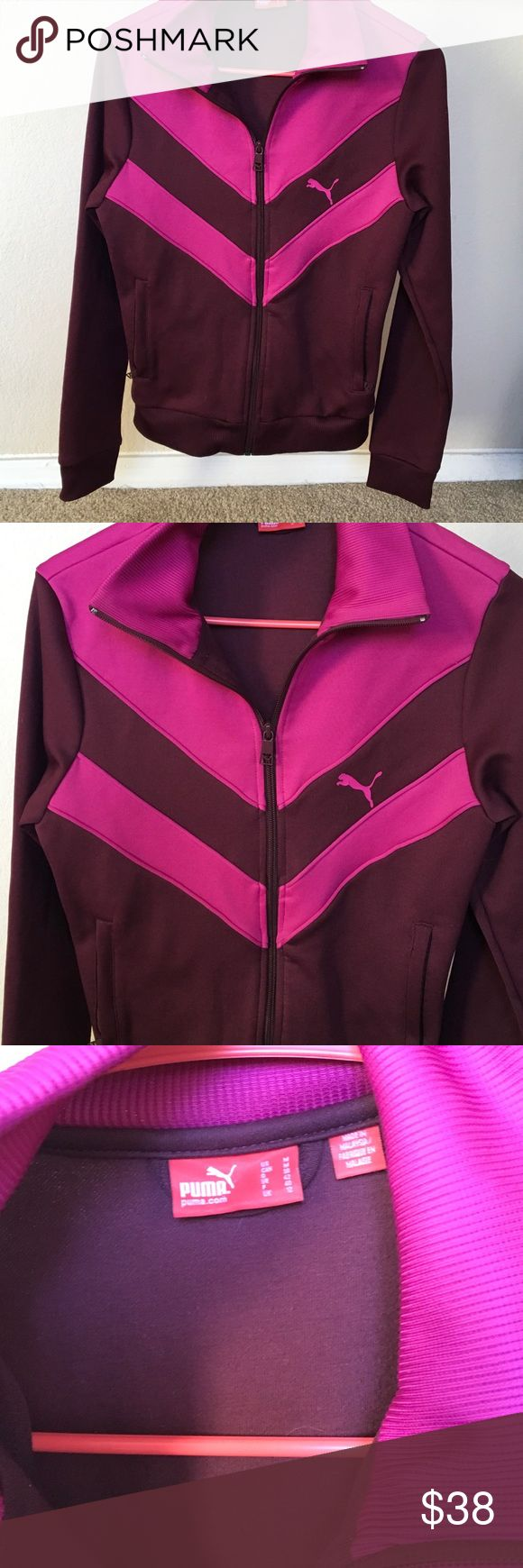 "PUMA Original old school Zip Up Burgundy Jacket M Great colors pop on this old school vintage style Zip Up warmup jog suit jacket... BURGUNDY w/ pink insets... PINK PUMA..SIZE M....18 1/2' underarm -underarm....23 1/2"" shoulder to edge. 2zip pockets front🎀🛍🎀🛍🎀🛍🎀🛍🎀🛍🎀 Puma Tops"