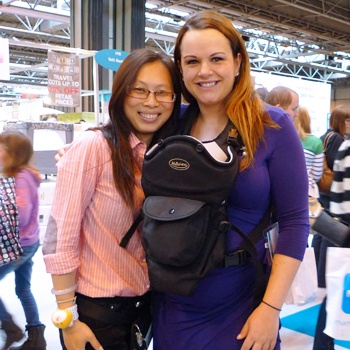 Claire Young (BBC's Apprentice) trying on the MaByLand Trek Snuggle Baby Carrier at the Baby Show!