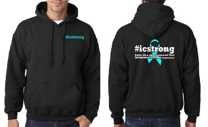 Interstitial Cystitis ICStrong Mens Black Hooded Sweat Shirt
