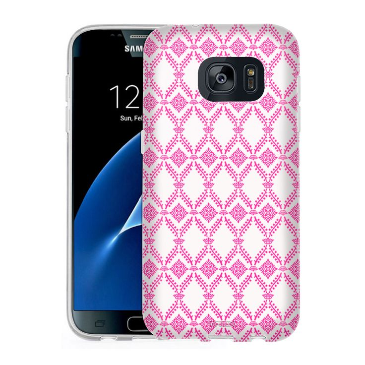 Samsung Galaxy S7 Victorian Wallpaper Pink on White Slim Case