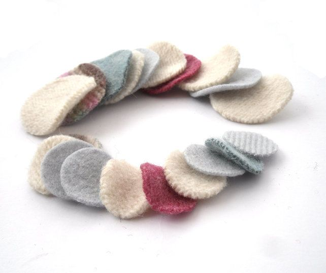 Pastel felt circle shapes made from old recycled wool sweaters £5.00