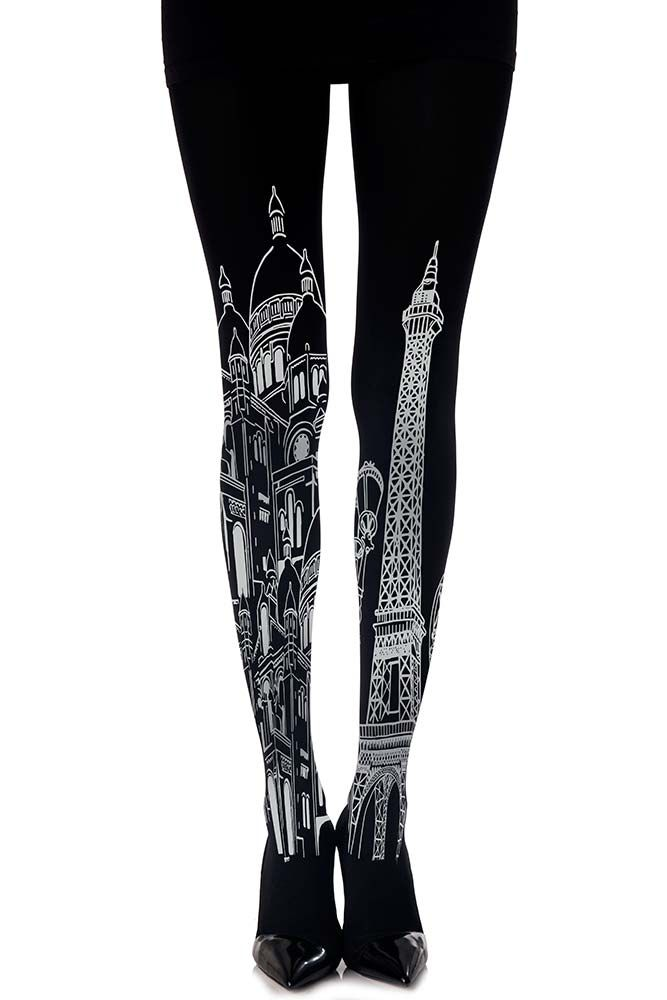 Sexy urban tattoo tights in Black with an all over grey Paris print pattern. Designed by Zohara #trendylegs #tights #paris #tattootights @trendyLegs