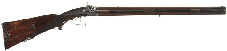 """Engraved over and under percussion rifle with silver bands, marked """"C. PIRKO IN WIEN"""", early to mid 19th century."""