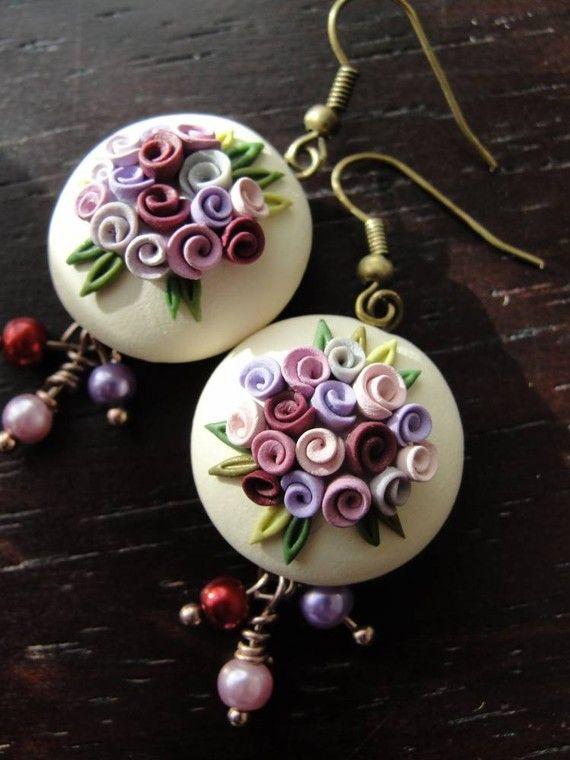 Polymer clay rose bead earrings by fizzyclaret