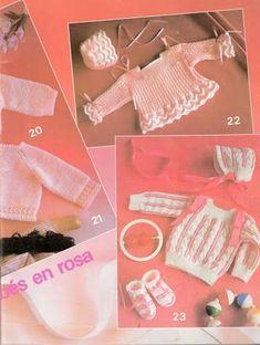 Foto: 21 Batita rosa a dos agujas - 22 Batita y gorra rosa con blanco a dos agujas - 23 Conjunto de batita, gorro y escarpines blanco con rosa a dos agujas