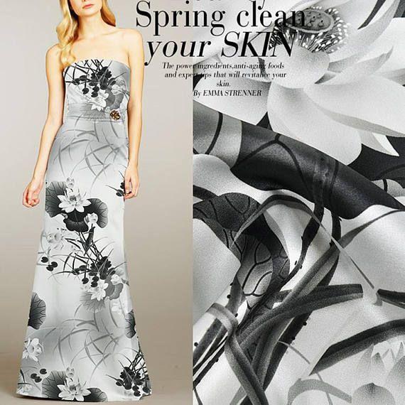 Lotus Floral Print Gray Black Stretch Silk Satin Fabric Width