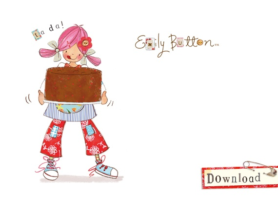 Chocolate cake by Emily Button. Emily Button is a real live rag doll who, with her friends Bobble & Mousey the Mouse, has many adventures solving problems along the way... www.emilybutton.co.uk