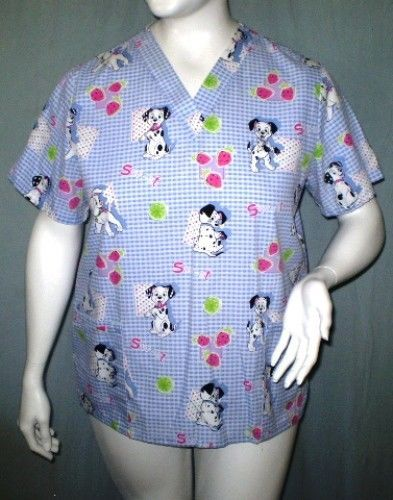 3104bada7c2 Disney's 101 Dalmations Blue V-Neck XL Scrub Top Cotton Blend #Disney