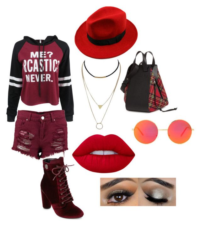 """""""15"""" by midnighthillzy on Polyvore featuring WithChic, Boohoo, Catherine Catherine Malandrino, Revo, Loewe and Lime Crime"""