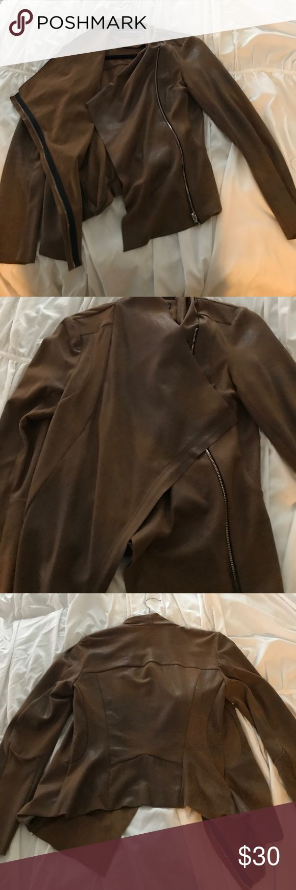 Faux suede Zara jacket Brown faux suede jacket from Zara. Great condition. Really cute with a pair of bf jeans! Zara Jackets & Coats Blazers