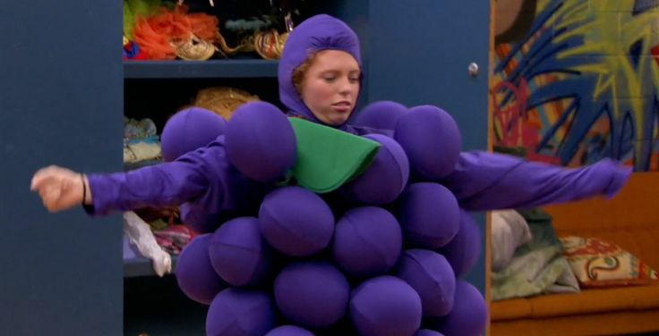Giselle dressed as grapes