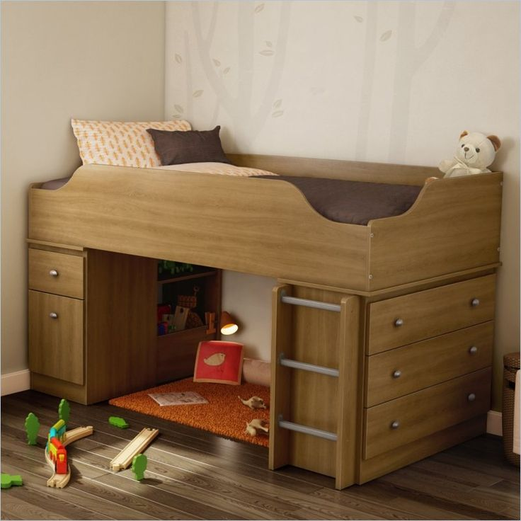south shore treehouse twin loft bed in harvest maple 3026a3 lowest price online on - Loft Twin Bed Frame